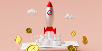 Rocket launching with money around it