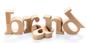 wooden blocks spelling out branding